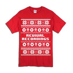 Skull/Record Christmas Sweater Design Red