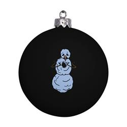 Snowman Black Ornament