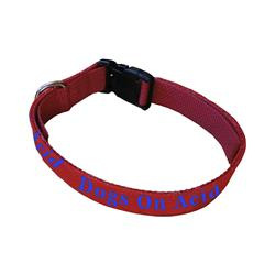 Red W/ Blue Stitch Dog Collar