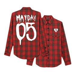 Mayday 05 Red/Black Long Sleeve Plaid Shirt