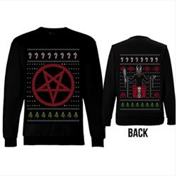 Candycane Pentagram Xmas Sweater Black Crewneck