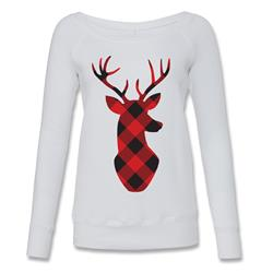 Red & Black Plaid Deer White Wide Neck Sweater