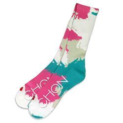 Camo Leaves White Socks