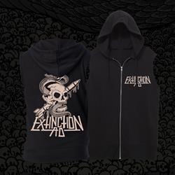 Extinction AD Snake & Skull Black Sleeveless Zip-Up Sweatshirt