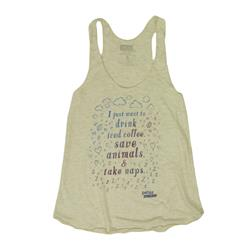 Drink Iced Coffee, Save Animals, Take Naps Natural Racerback Tank Top
