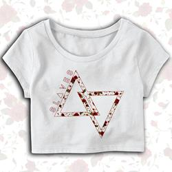 Floral Triangle White Crop Top