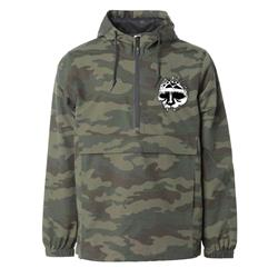 Skull Logo Embroidered Camo Pullover Windbreaker