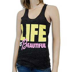 Life Is Beautiful Tri-Black Girl's Tank Top