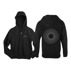 Geometric Black Zip-Up