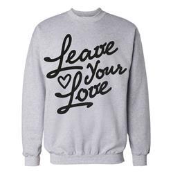 Leave Your Love Script Heather Grey Crewneck Small