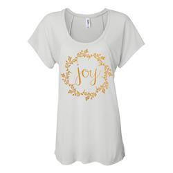 Joy Gold Shimmer Ink On White Flowy