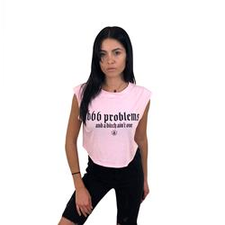 666 Problems Pink Triblend Cropped Festival Tank Top