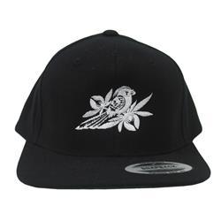 Flat White Logo Black Snapback Hat
