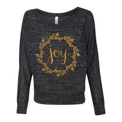 Joy Goldshimmer Ink On Black Marble Ladies Off-The-Shoulder Shirt