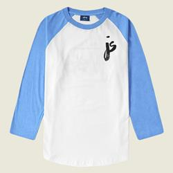 JS Logo White / Heather Lake Blue Raglan