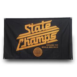 Gold Logo Black Banner Flag