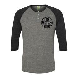 Logo Eco Grey/Black 3/4 Sleeve Buttoned Henley Baseball Tee *Clearance*