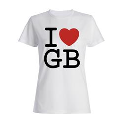 I Love GB On White Girls Tee