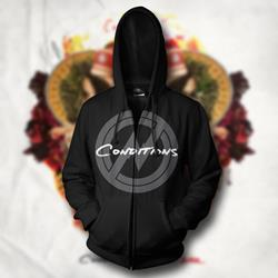 Circle Symbol Black Zip-Up Sweathshirt