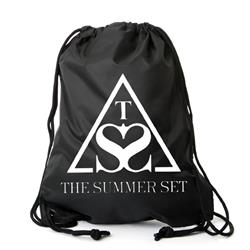Triangle Black Cinch Bag