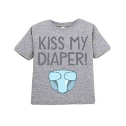 The  Kiss My Diaper Heather Grey  3T