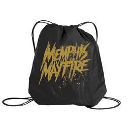 Yellow Logo Black Cinch Bag