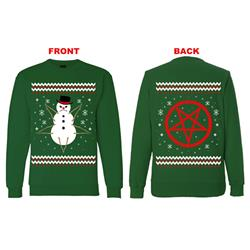 Demon Snowman Xmas Sweater Green Crewneck