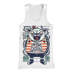 Cat Punk White Tank Top