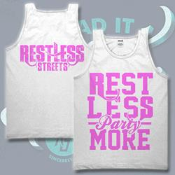 Rest Less Pink/ White Tank Top