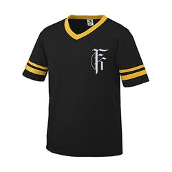 Limited Edition - Fit For A King - Black/Gold Baseball V-Neck T-Shirt
