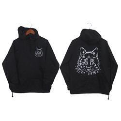 Wolf Black Windbreaker