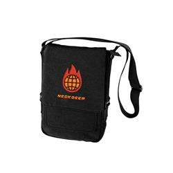 Globe Embroidered Black Side Bag