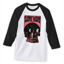 Band Skull White/Black Baseball Tee