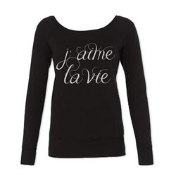 I Love Life (French) Black Wide Neck Sweater