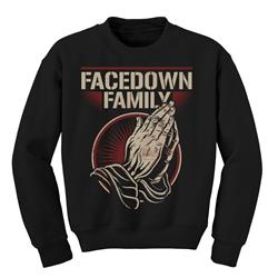 Facedown Family Praying Hands Black Crewneck *Sale! Final Print*