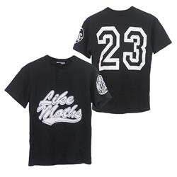 Swoosh Black 2 Button Baseball Jersey
