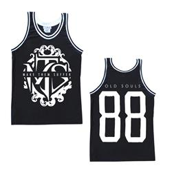 White Logo Black Basketball Jersey