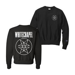 Double Pentagram Embroidered Black Champion Crewneck