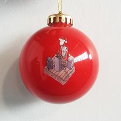 Robot DJ Red Christmas Ornament
