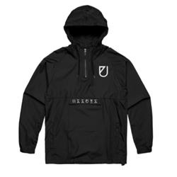 U Embroidered Black Pullover Windbreaker