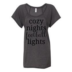 Cozy Football Black On Dark Heather Flowy