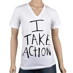 I Take Action V-Neck (No Back) White