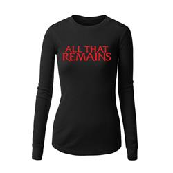 Red Logo Black Womens Long Sleeve Shirt