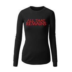 Red Logo Black Womens Long Sleeve Shirt