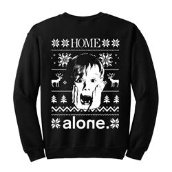Alone Home  Christmas Sweater Black Crewneck