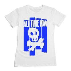 Blue Skull Girl's White T-shirt