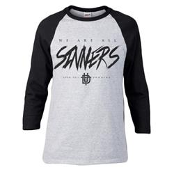 Sinners Black/Heather Grey Baseball Tee