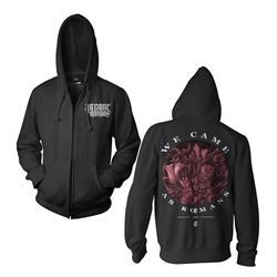 Flower Black Zip-Up Sweatshirt
