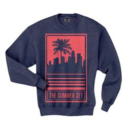 Palm Tree Heather Navy Crewneck