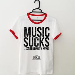 Music Sucks White W/ Red